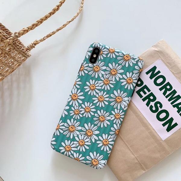 Cell Phone Cases Simple Grinding Small Fresh Chrysanthemum Apple XsMxa Mobile Shell 6S Smile Face Sunflower Water Sticking Hard Shell