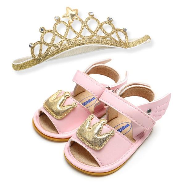 New INS Girls sandal Fashion Crown wing Infant Baby Shorts +glitter Star elastic princess headbands birthday Newborn Shorts C4301