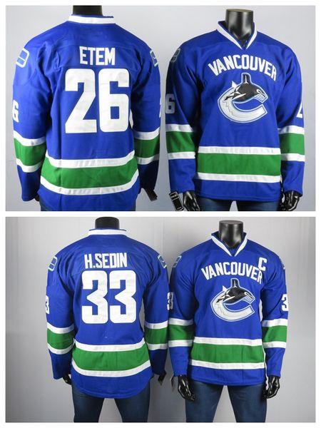 Vancouver Canucks Trikots Der beste Spieler Henrik Sedin33 Etem 26 Hohe Qualität gestickte Männer Grau Eis Hockey Jerseys genähter