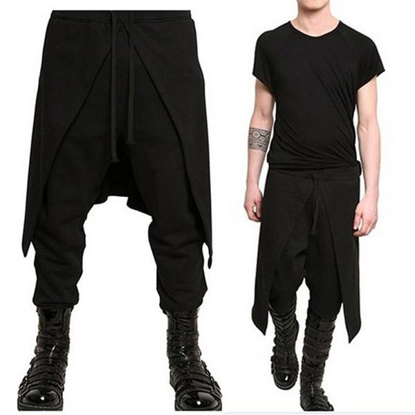 Şık Etek Erkekler Harem Pantolon Rahat Pantolon İpli Baggy Pantolon Slacks Gevşek Joggers Hiphop Dans Pantolon Sweatpants Hombre