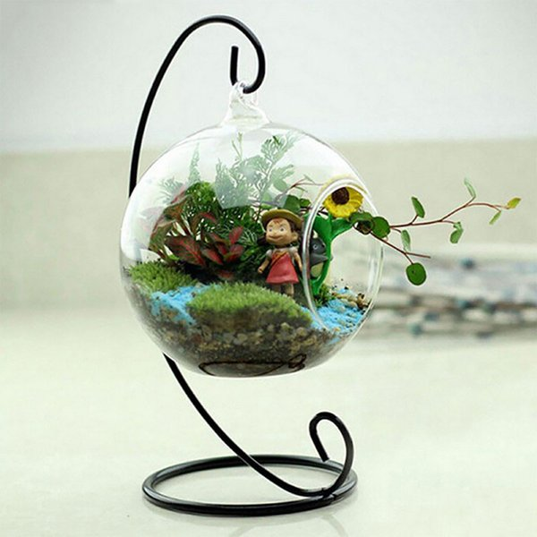 Candlestick Ball Globe Shape Clear Hanging Glass Vase Flower Plants Container Ornament Micro Landscape DIY Wedding Home Decor
