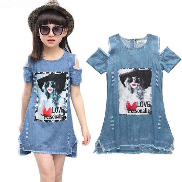 Big Girls Dress 3D Impreso manga corta vestido de mezclilla Vestidos de verano para niños Ropa de diseño para niñas Ropa de niños