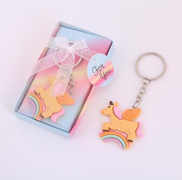 Venta caliente al por mayor bebé Fiesta de Cumpleaños Sorteo Rainbow Unicornio Llavero Recién Nacido Bautismo Bebé Bautizo Recuerdo