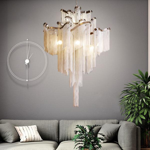 Moderno argento oro catena in alluminio con frange lampada a sospensione pendente appeso luce LED bellissimo lampadario per la decorazione domestica dell'hotel