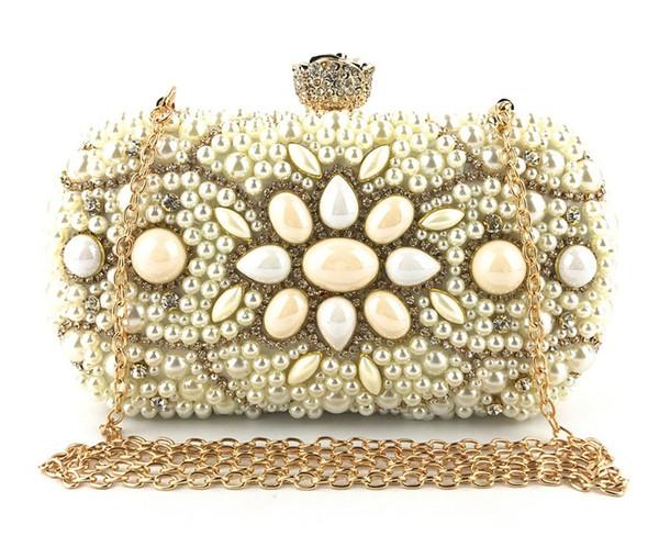 Handmade Beaded Dinner Package Petal Hardware Diamond Bag handbag Women Clutch Wedding Party Purse Case Clutch Bridal Wallet Shoulder Bag