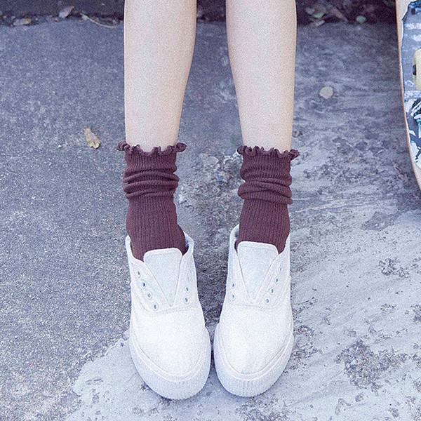 Women Socks High Quality Cotton Socks Wholesale Knitted Mid Calf Length Socks For Ladies Pure Color Elastic Sock