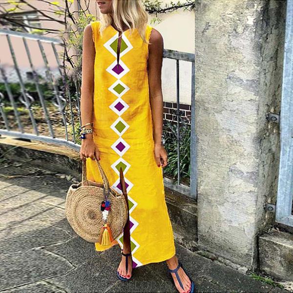 Женское летнее макси-платье с принтом без рукавов и V-образным вырезом с длинным платьем Сплит-подол Багги Кафтан Бальные платья Летние пляжные платья 2019