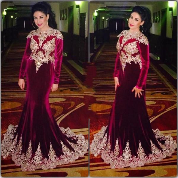 2019 Bourgogne Arabe Robes De Soirée Velours Manches Longues Dentelle Applique Sirène Robes De Bal Sur Mesure Moyen-Orient Formelle Robes De Fête