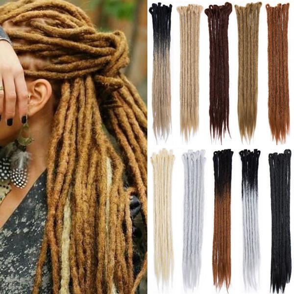 best selling 1pack(5pcs) 20inch Handmade Dreadlocks Extensions Reggae Crochet Hip-Hop Synthetic Dreads Crochet Braiding Hair For Fashion Women