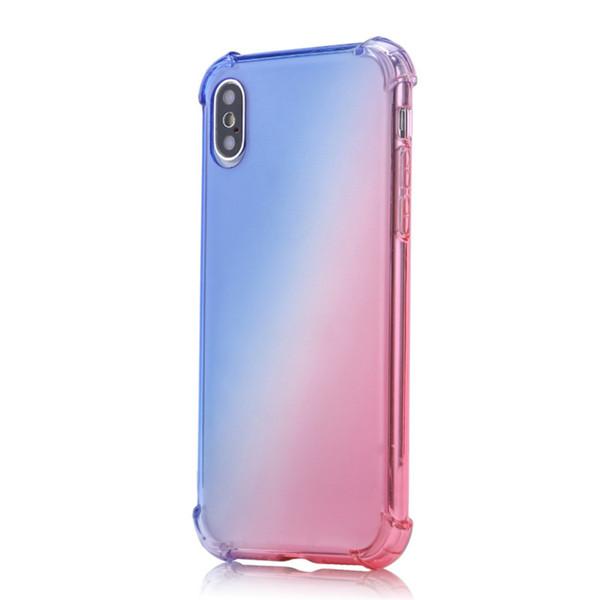 Gökkuşağı Telefon Kılıfları Degrade Renkler Anti Darbeye Hava Yastığı Yumuşak TPU Temizle iphone 4 S Için Şeffaf Dört Açı Geri Kapakları Kapakları MAX 8 Artı