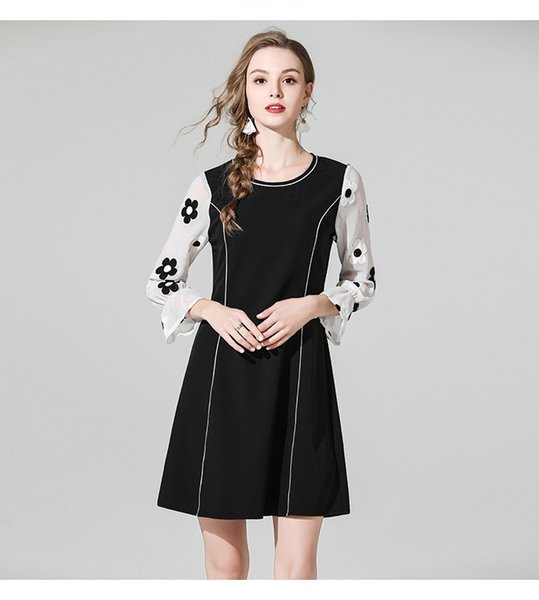 c090a16c49e Hot Sale 2019 Spring Europe and America New Designer Women Dress Long Sleeve  Elegant Floral Embroidery Chiffon Patchwork Dresses
