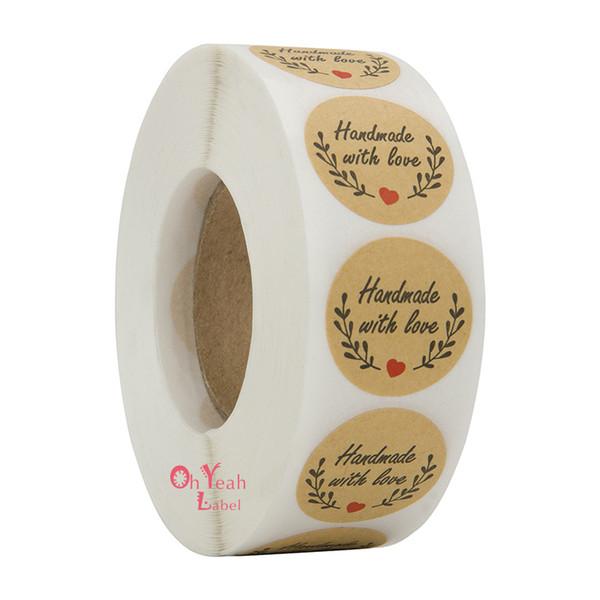 500 unids Hecho a mano con amor etiqueta redonda Etiqueta adhesiva de papel Kraft Etiqueta adhesiva hecha a mano Etiqueta para el regalo decoración para la fiesta de cumpleaños