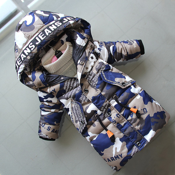 good quality children boys coats kids cotton letter camuffamento long style down parkas snow suit bebe sport hooded jackets clothes