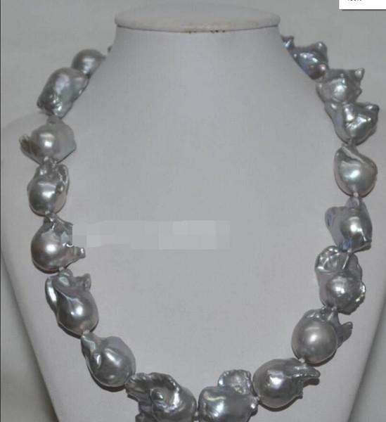 ожерелье Бесплатная доставка +++ Красивый серый 22 * 25 мм Жемчужное ожерелье в стиле барокко J6290