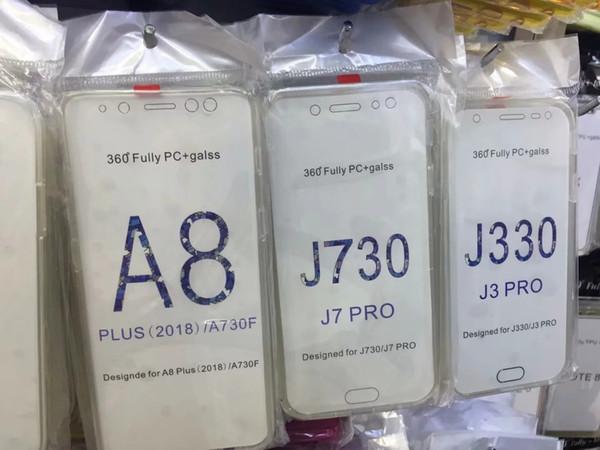 Funda de TPU suave de 360 grados para PC + Soft para Galaxy J4 A6 A6 A6 A6 A7 A7 A7 A750 A750 J730 2018 Cristal de cobertura de cuerpo completo Cubierta de doble cara 2 en 1