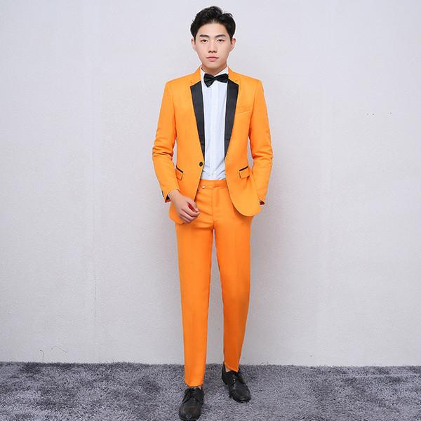costumes pour hommes d'orange business casual mince costume hommes de costume formel costume deux pièces (veste + pantalon) mariage marié robe de garçon d'honneur