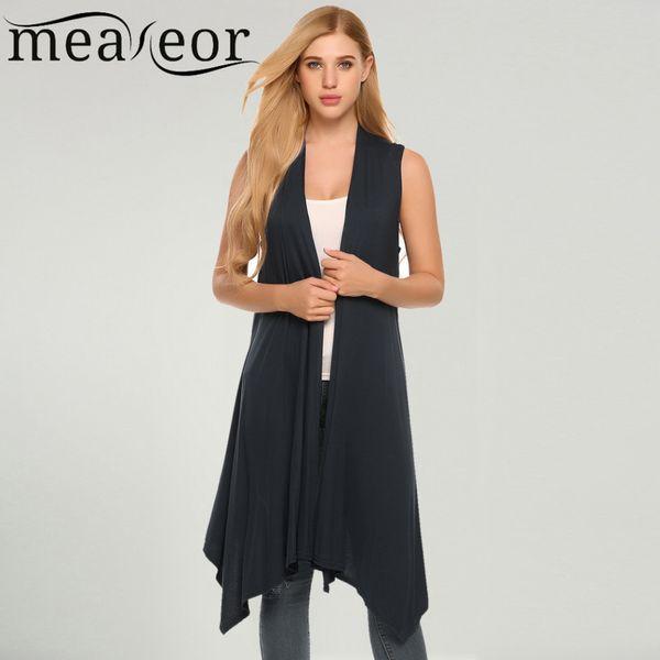 Meaneor Women Vest Sleeveless Cardigan Casual Draped Asymetric Hem Open Front Solid Black Feminino Long Cardigan Sweater Coat