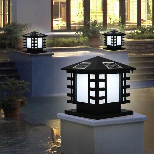 BRELONG Luz de cabeza de columna regulable solar Lámpara LED impermeable Lámpara de poste de puerta Jardín Villa Luz de jardín