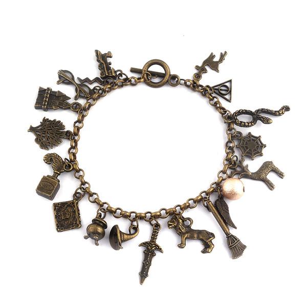 Retro Armband Antike Bronze Goldener Schnatz Hut Heiligtümer des Todes Armband Gemischte Armbänder Fans Modeschmuck Drop Shipping