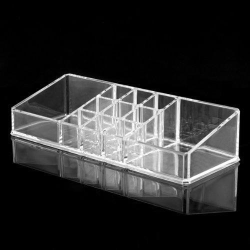 Caso acrílico cosmético claro do armazenamento da composição do portador de escova do batom do organizador