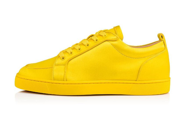 Free Shipping Brand Yellow Suede Women Red Sole Rantulow Lovers Fashion Shoes Red Bottom Sneaker Rantulow Orlato Mens Flat