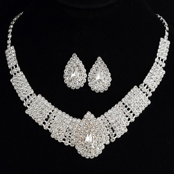 Hot Selling Bride Classic Rhinestone Crystal Choker Necklace Earrings Wedding Jewelry Sets Wedding Accessories Bridal Jewelry