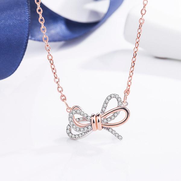 Japan and South Korea selling 18K rose gold crystal bow pendant necklace Swarovski new temperament Joker women's jewelry