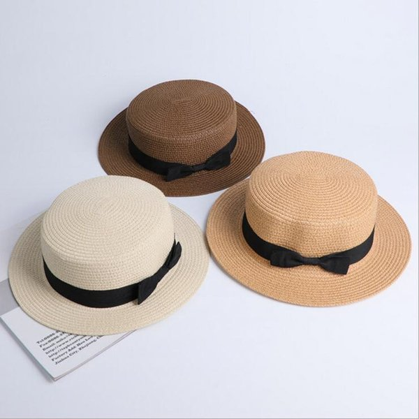 Seioum wholesale sun flat straw hat boater hat girls bow summer Hats For Women kid and Beach flat panama straw hat chapeau femme D19011106