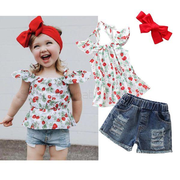Einzelhandel Mädchen Boutique Outfits Sommer Sling Erdbeere Top + Loch Jeans 2pcs Anzüge Baby Trainingsanzug Kinder Designer Kleidung Kinder Kleidung Sets