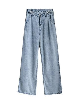 Adjustable Waist Trend Broad-Legged Loose And Sagging Straigh Fashion Jeans With High Waist Ya Ya Feng