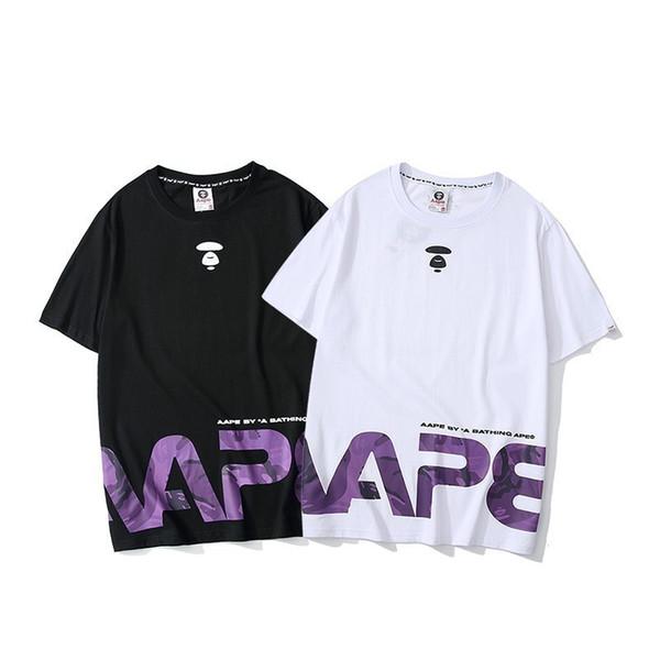 ExplosionMen футболка свободная версия мода тенденция фиолетовый Письмо печати лето мужчины и женщины с тем же пунктом половина sleevep