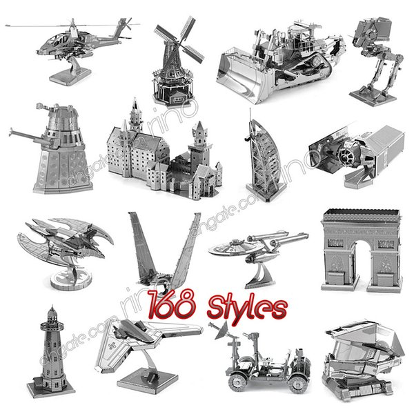 3D Metal DIY Puzzle assembly Toys model Tank millennium falcon Tie Fighter famous building puzzle for kids adult gifts 168 Styles DHL