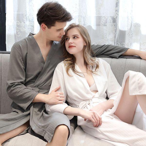 Unisex couple Autumn Cotton Solid Full Waffle For women bath lingerie bathrobe robes home clothing plus size