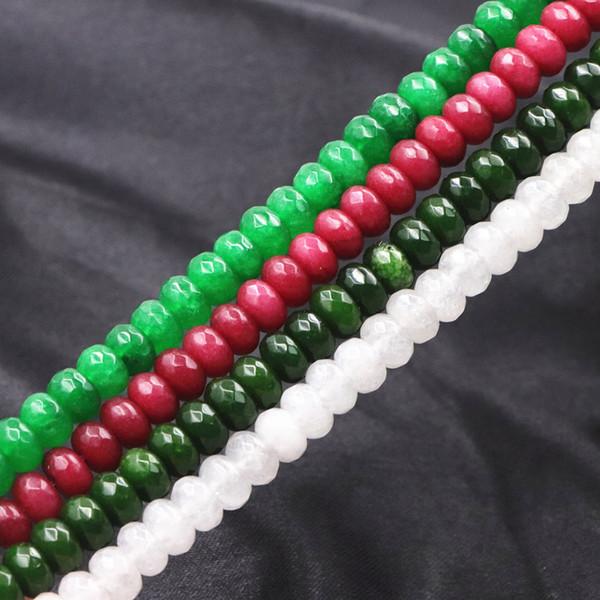5x8mm Multicolore Pietra Naturale Branelli Allentati Spacer Accessori Jade Calcedonio per Creazione di Gioielli Jaspers Abacus Sfaccettato 15