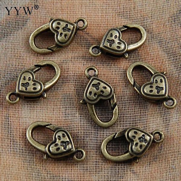 50PCs/Lot Claw lobster shrimp Clasp connector hook heart antique bronze for DIY bracelet necklace chain 11x20mm Hole:1.5mm