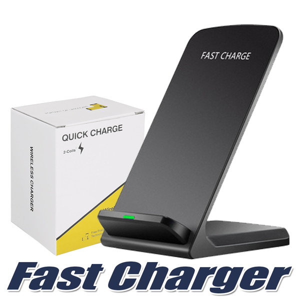 best selling 2 Coils Wireless Charger For iPhone X 8 8 Plus Qi Wireless Fast Charging Stand Pad For Samsung Note 8 S8 S7 All Qi-enabled Smartphones