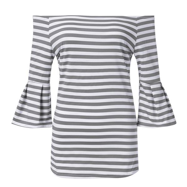 Women's T Shirt Top Summrt Off Shoulder Flared Sleeve Stripe Streetwear Korean Clothes Tshirt Women Camiseta Feminina Tee Tops