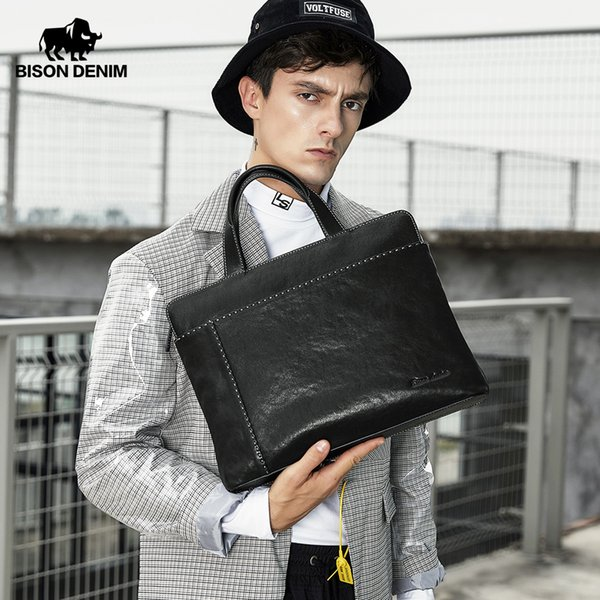 "BISON DENIM Genuine leather Men Bag 14"" Laptop Handbag High Quality Men's Business Top Handle Bag Luxury Briefcase N2908-3"