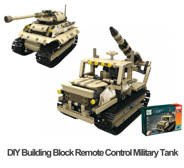 DIY Building Block Fernbedienung Raupenfahrzeuge 2,4 G RC Military Tank Vier Kanäle USB Charge Coole Geschenke für Kinder