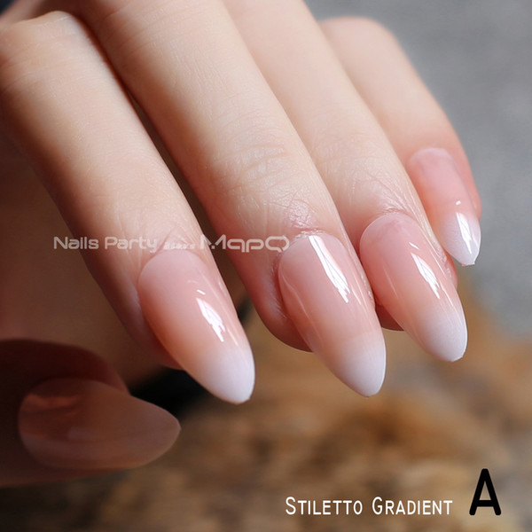 French Gradient Stiletto Natural Nails Coffin Nude Medium Short Square Fake Nails Red Black Oval False Ballerina Red False Nails False Nails Designs