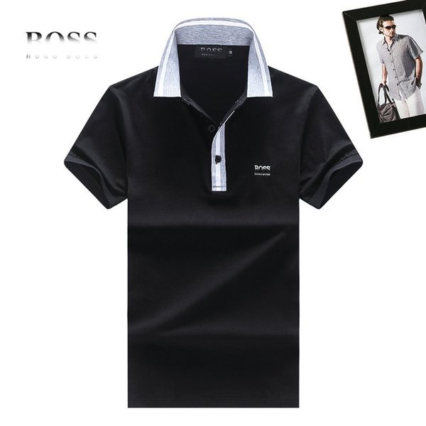BOS T shirts trend famous designer Tshirt fashion brand mens Tshirts classic embroidery BOS polo shirt quality cotton men tee shirt Free pos