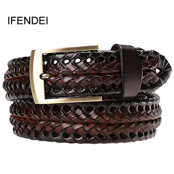 Ifendei Hombres Cinturón De Cuero Genuino Hebilla Hebilla Cinturones Trenzados Para Hombres Calidad Diseñador de Lujo Tejidos A Mano Cinturones de Moda Para Jeans C19041101