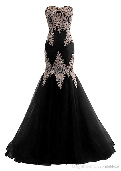 2019 Strapless Mermaid Prom Dresses African Golden Lace Appliques Sweetheart Long Evening Dress Formal Party Gowns