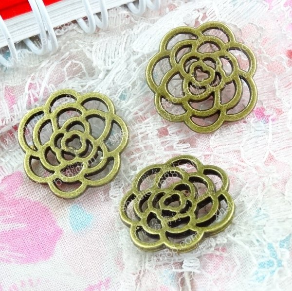 100pcs 16MM antique bronze hollowed out filigree rose flower charms for bracelet vintage metal pendants earring handmade DIY jewelry making