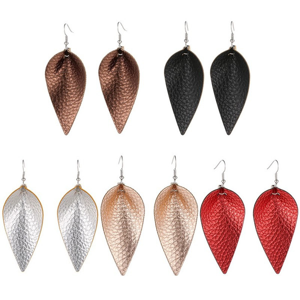 New Cutting Leaf Feather Earrings PU Leather Sequins Looking Various Multi Colors Bohemia Water Drop Dangle Earring Handmade