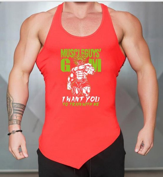 Gym Outdoor Sport Männer Fitness Freizeit Mode neue atmungsaktive Weste diagonal Saum Polyester verkaufen gut Weste