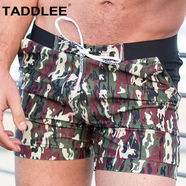 taddlee brand men's swimwear swimsuits gay plus size long basic camo swimming surf board shorts swim boxer trunks quick dry
