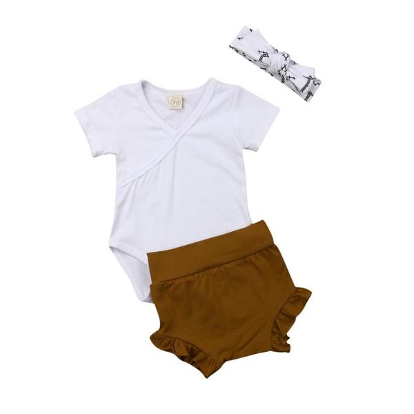 3PCS Cute Newborn Baby Girl Outfits Clothes Tops Romper+Tutu Shorts Pants Set