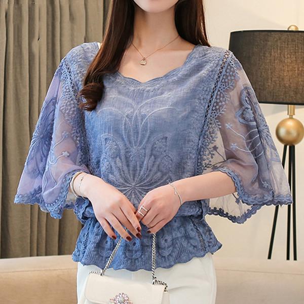 Bayanlar Yaz Bluz Moda Kadın Bluzlar 2019 Yaz Yeni Şifon Bluz Pamuk Kenar Dantel Bluz Gömlek Flowe 4073 50 Tops