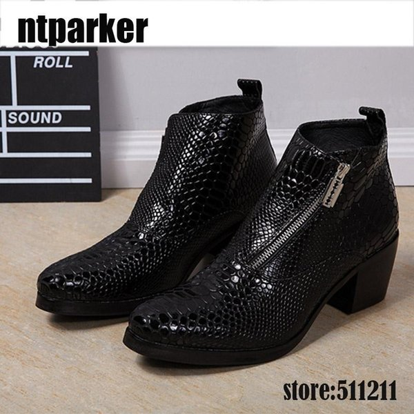 6.8CM Heels Men Boots Black Genuine Leather Boots Men Round Toe Square High Heels Ankle Boots Men Party and Wedding